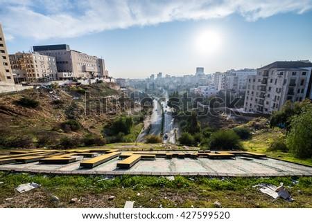 Amman, Jordan - December 23, 2015: View on Arar Street in Amman city - stock photo