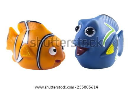 Amman, Jordan - November  1, 2014: Marlin cartoon fish toy character of Finding Nemo movie from Disney Pixar animation studio. - stock photo