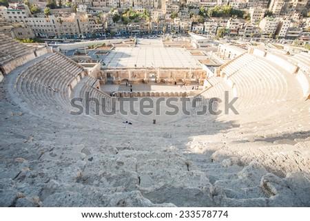 AMMAN, JORDAN, SEPTEMBER 16 2013, Roman amphitheater in Amman, Al-Qasr site, Jordan - stock photo