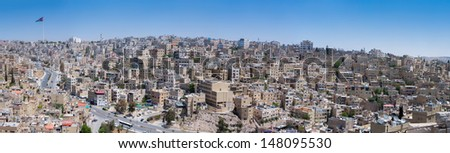 Amman, the capital of Jordan. Panoramic view from the Citadel Hill.