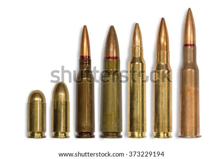 ammo for machine guns and pistols on the white background - stock photo
