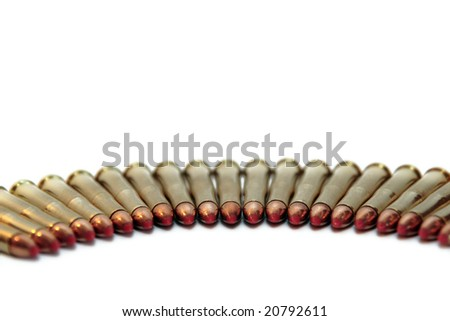 ammunition all in a row on a white background