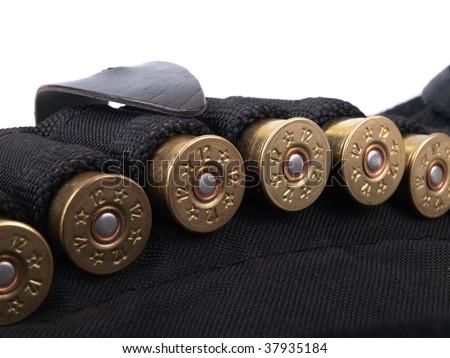 Ammunition belt closeup view against white - stock photo