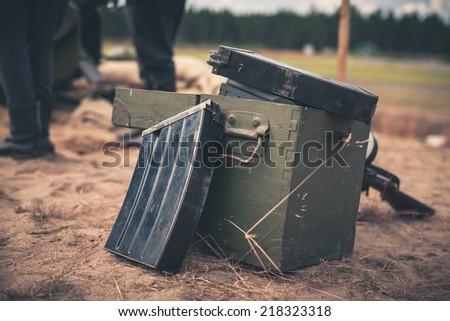 Ammunition box - stock photo
