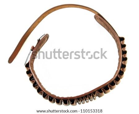 Ammunition cartridge belt for hunting isolated on white background - stock photo