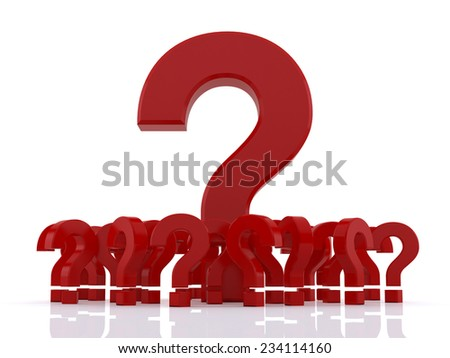 Amongst red Question marks with empty space over white background