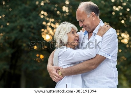 Amorous senior couple embracing in the park - stock photo