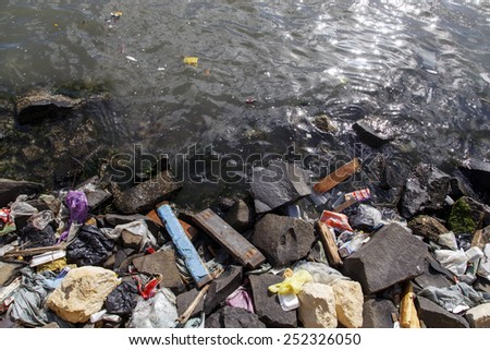 Amount of trash polluting river water