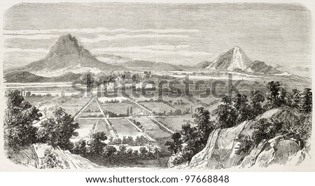Amozoc de Mota old view, Mexico. Created by Provost after Cibot, published on L'Illustration, Paris, 1863 - stock photo