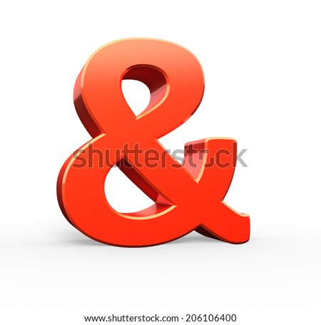 Ampersand 3D red symbol - stock photo