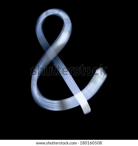 Ampersand Symbol Icon Using Light Painting Technique isolated over black Background - stock photo