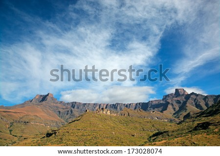Amphiteatre of the Drakensberg mountains, Royal Natal National Park, South Africa  - stock photo