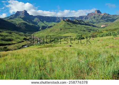 Amphitheater and Tugela river, Drakensberg mountains, Royal Natal National Park, South Africa  - stock photo