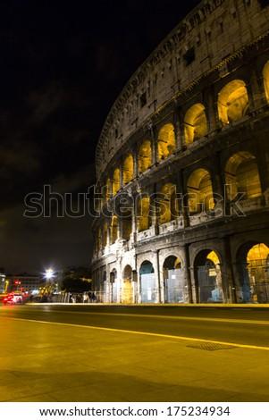 Amphitheater at night, Colosseum, Rome, Rome Province, Lazio, Italy - stock photo