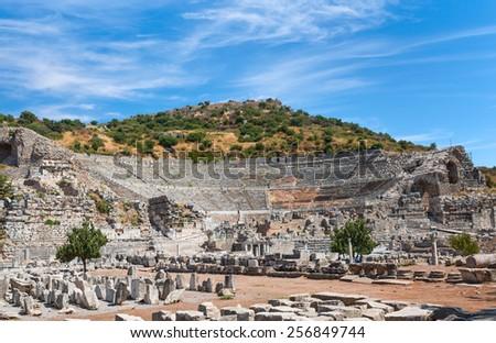 Amphitheater (Coliseum) in Ephesus (Efes) Turkey  - stock photo