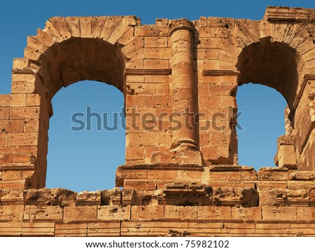 Amphitheater coliseum, part of El Djem - stock photo