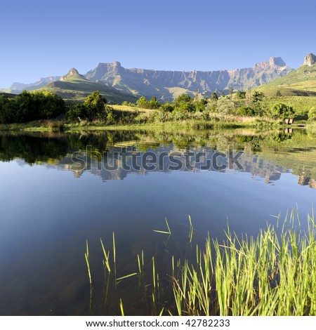 Amphitheater found in the Northern Drakensberg, South Africa (see more drakesberg pictures in portfolio) - stock photo