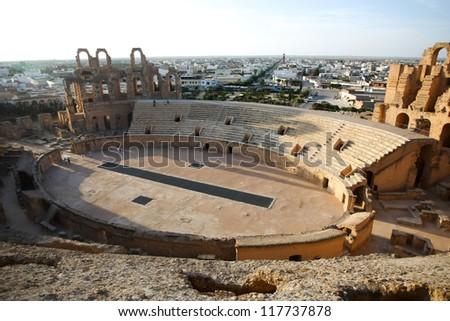 Amphitheater in El Djem. Central podium of roman biggest amphitheater in africa in El Djam, Tunisia - stock photo