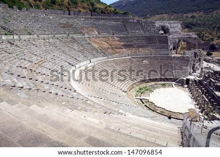Amphitheater in Ephesus (Efes) Turkey - stock photo