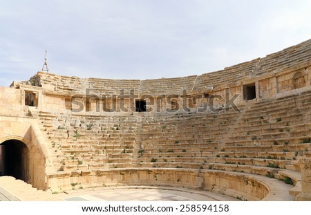 Amphitheater in Jerash (Gerasa of Antiquity), capital and largest city of Jerash Governorate, Jordan - stock photo