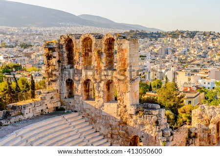 Amphitheater of the Acropolis of Athens. UNESCO World Hetiage site. - stock photo