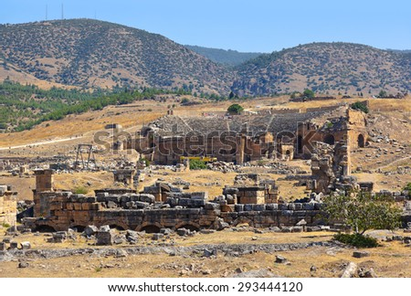 Amphitheater ruins at Pamukkale Turkey - architecture background