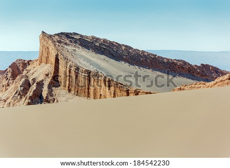 Amphitheatre is beautiful geological formation of Moon Valley in Atacama Desert, Chile - stock photo