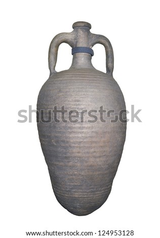 Amphora for wine,5 centuries-is isolated on the white - stock photo