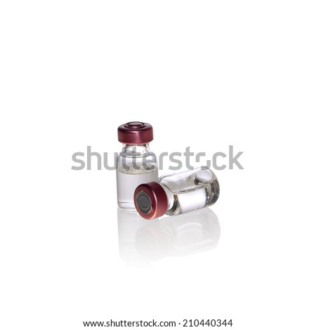 Ampules Vials  isolated on white with clipping path (with shadow) - stock photo