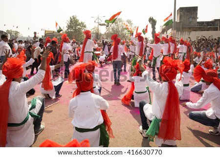 AMRAVATI, MAHARASHTRA, INDIA, JANUARY - 26, 2016: Student celebrating the India Republic Day on street of city, January, 26, 2016 in Amravati, Maharashtra, India.