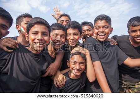 AMRAVATI, MAHARASHTRA, INDIA, 26 JANUARY 2015 : unidentified school  Student celebrating the India Republic Day on ground of city stadium, January, 26, 2016 in Amravati, Maharashtra, India.