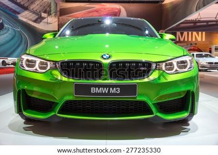 AMSTERDAM - APRIL 16, 2015: BMW M3 on display at the AutoRAI 2015. - stock photo