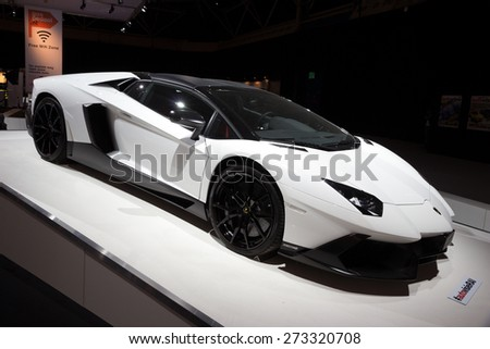 AMSTERDAM - APRIL 16, 2015: Lamborghini Aventador LP720-450 at the AutoRAI 2015. - stock photo