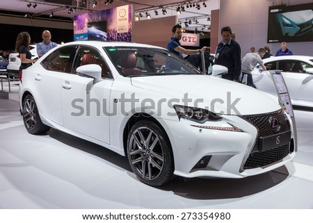 AMSTERDAM - APRIL 16, 2015: Lexus IS at the AutoRAI 2015. The Lexus IS is a series of entry-level luxury cars sold by Lexus since 1998. - stock photo