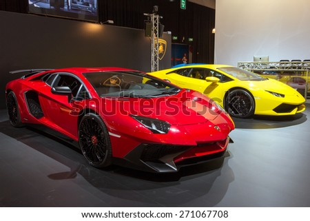 AMSTERDAM - APRIL 16, 2015: The new 2015 Lamborghini Aventador LP 750-4 SuperVeloce special edition sports car shown at the AutoRAI 2015. - stock photo