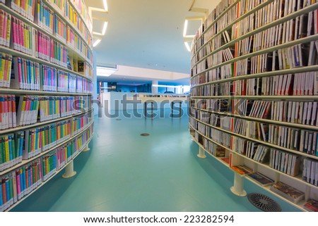 AMSTERDAM - AUGUST 26: Interior of the city's public library on August 26, 2014 in Amsterdam. - stock photo