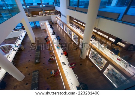 AMSTERDAM - AUGUST 26: People visit the city's public library on August 26, 2014 in Amsterdam.