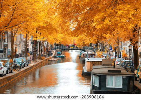 Amsterdam autumn. beautiful places in Europe - stock photo