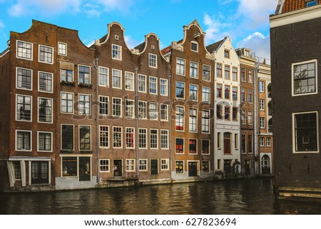Amsterdam buildings on the water, Netherlands.