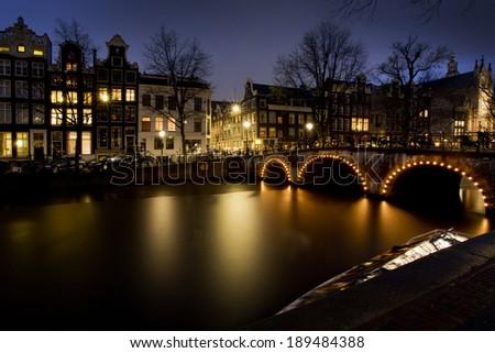 Amsterdam by night - stock photo