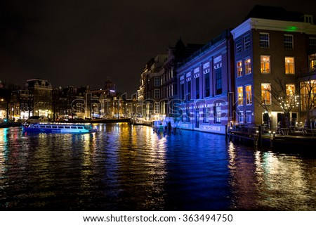 Amsterdam canal and boat