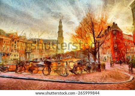 Amsterdam canal at evening impressionistic painting - stock photo