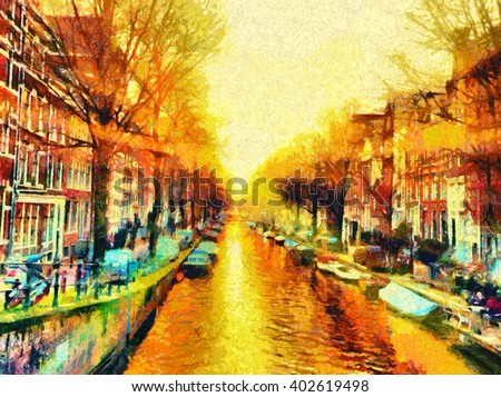 Amsterdam canal cityscape morning sun oil painting - stock photo
