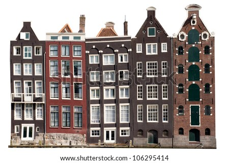 Amsterdam canal houses - Isolated - stock photo