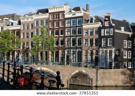 Amsterdam canal view - stock photo