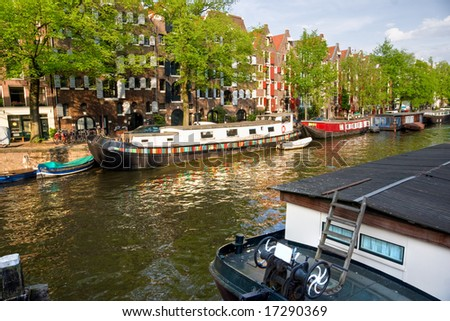Amsterdam, Canals, boat and bike.