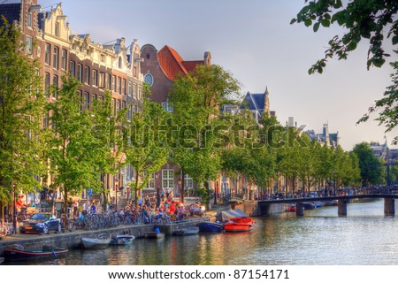 Amsterdam canals, Netherland - stock photo
