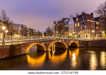 Amsterdam Canals West side at dusk Natherlands - stock photo