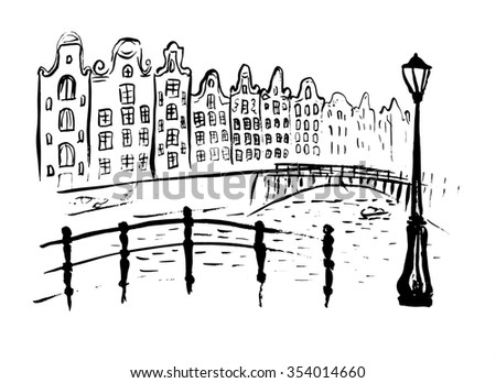 Amsterdam canals with bridge and houses in Holland. Ink hand drawn outline sketch isolated on white - stock photo