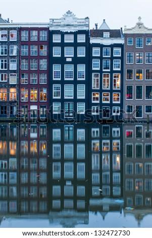 Amsterdam Grachten at the evening - stock photo